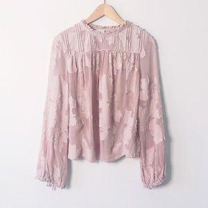 HostPick Aritzia Wilfred Pink Lourdes Floral Boho Viscose Cotton Blouse XXS
